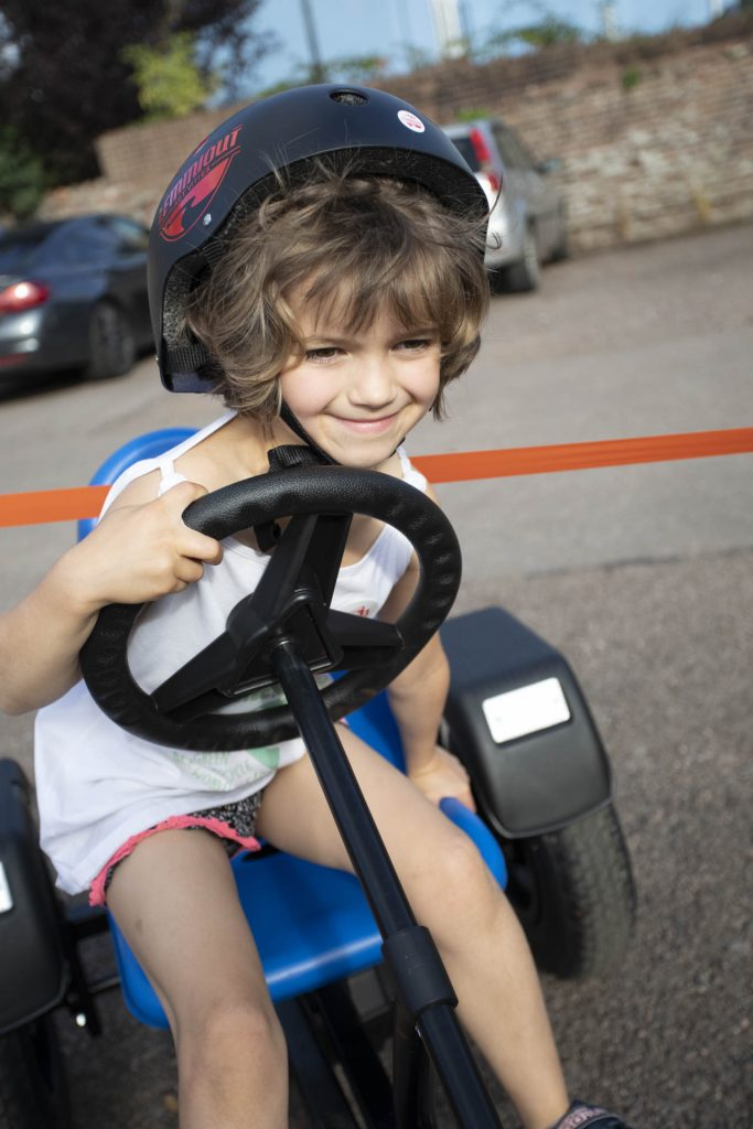 Trying out a go-kart